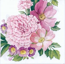 Decoupage Paper of Pink Carnation Wreath   Paper Napkins for Decoupage