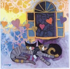 Decoupage Paper Napkins of Cats with Hearts | Paper Napkins for Decoupage