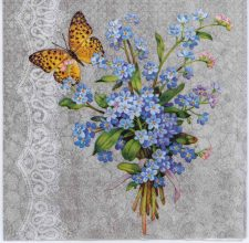 Decoupage Paper of Forget-Me-Nots and Butterflies   Paper Napkins for Decoupage