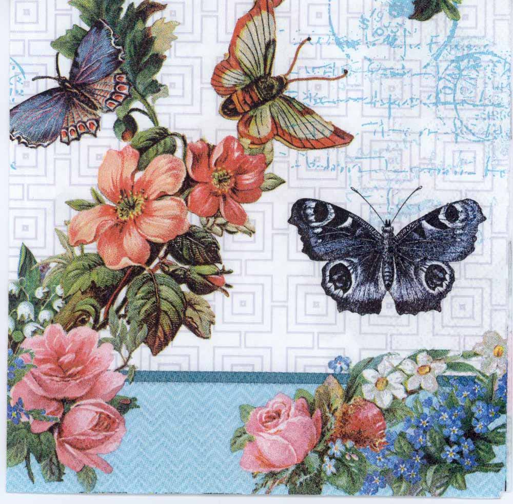 Decoupage Napkins of Butterflies Flowers and Lace