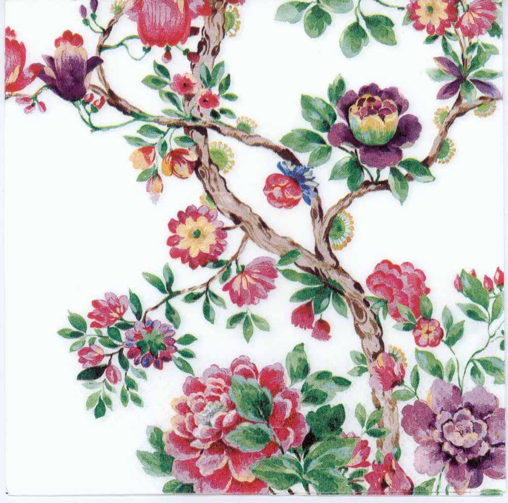 Decoupage Paper Napkins of a Japanese Flower Garden