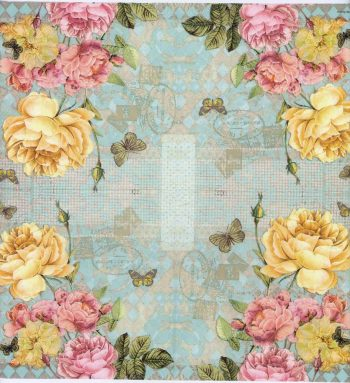 Decoupage Napkins of Yellow and Pink Roses and Butterflies | Paper Napkins for Decoupage