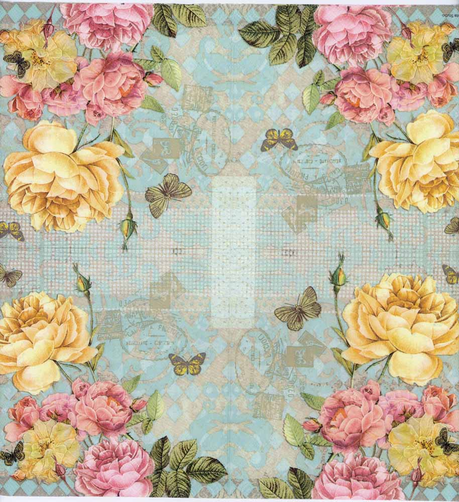 Decoupage Napkins Of Yellow And Pink Roses And Butterflies