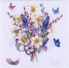 Decoupage Paper Napkins of Muscari Grape Hyacinths and Butterflies | Paper Napkins for Decoupage