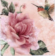 Decoupage Paper of Hummingbird and Pink Rose on Pink | Paper Napkins for Decoupage