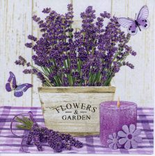 Decoupage Paper Napkin of Lavender Pot Candle and Butterfly | Paper Napkins for Decoupage