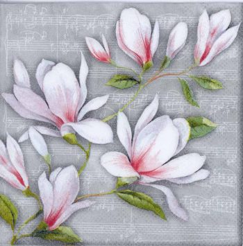 Decoupage Paper Napkins of Magnolias and Music | Paper Napkins for Decoupage