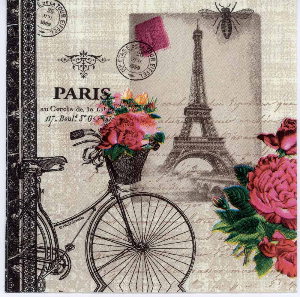 decoupage paper of paris bicycle with flowers. Black Bedroom Furniture Sets. Home Design Ideas