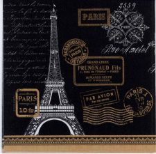 Decoupage Napkins of Eiffel Tower Paris Rendezvous on Black | Paper Napkins for Decoupage