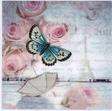 Decoupage Paper Napkins of Paris Romance Eiffel Tower Roses Butterfly   Paper Napkins for Decoupage