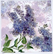 Decoupage Napkins of Lilac Garden and Butterflies | Paper Napkins for Decoupage