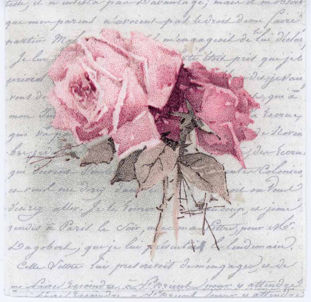 Decoupage Paper Of Vintage Roses And A Love Poem Luncheon