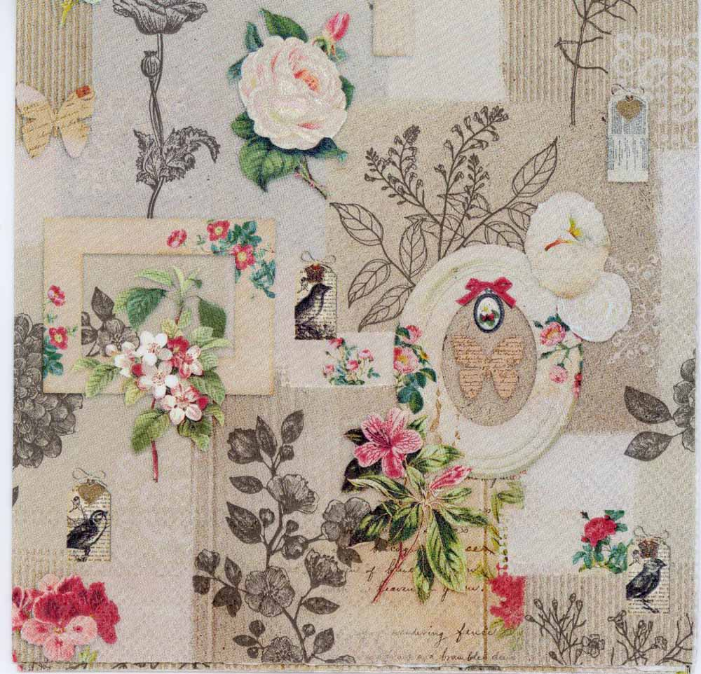 Decoupage paper of vintage roses birds and butterflies with frames jeuxipadfo Image collections