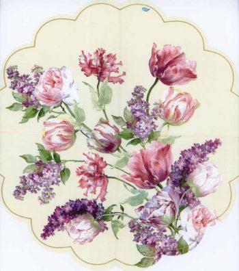 Round Decoupage Napkins of a Garden of Elisabeth Roses