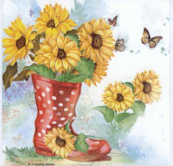 Decoupage Paper of Sunflowers and Butterflies | Paper Napkins for Decoupage