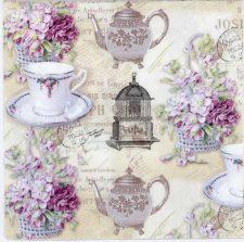 Decoupage Paper of Tea Pot Tea Cup Purple Roses Tea Party | Paper Napkins for Decoupage