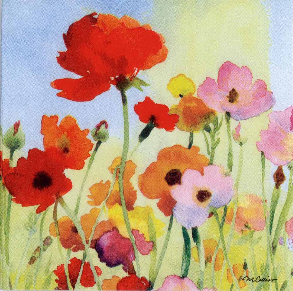 Decoupage Paper Of Wild Poppies In Watercolor