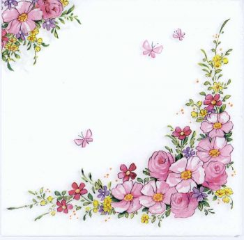 Decoupage Paper Napkins of Pink Flowers and Butterflies | Paper Napkins for Decoupage