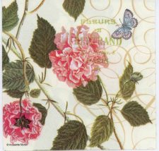 Decoupage Paper Napkin of Pink Hibiscus Flowers and Butterfly | Paper Napkins for Decoupage