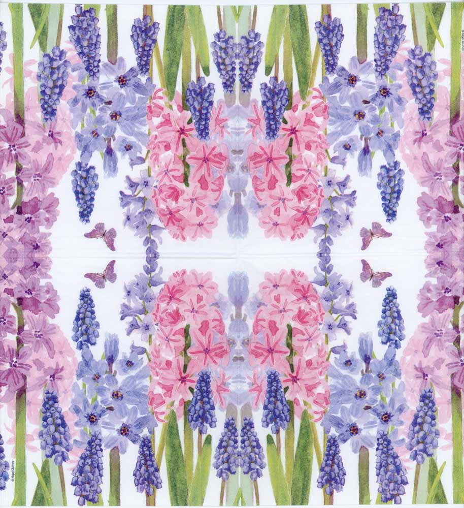 decoupage paper napkin of blue and purple hyacinth flowers