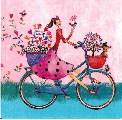 Decoupage Paper Napkins | Fairy Napkins |Fairy Girl on a Bicycle | Paper Napkins for Decoupage