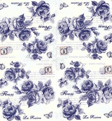 Decoupage Napkins | Flower Napkins | Blue French Roses Postcard | Paper Napkins for Decoupage