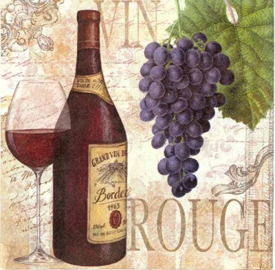 Wine Napkins   Bordeaux Wine Bottles Grapes Glasses   Wine Grapes