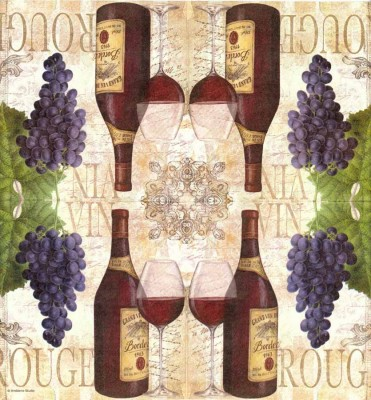 Wine Napkins | Bordeaux Wine Bottles Grapes Glasses | Wine Grapes