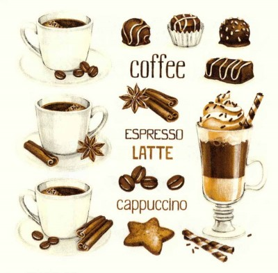 Decoupage Paper Napkins |Coffee Party Napkins | Espresso Latte Cappuccino Napkins |Paper Napkins for Decoupage
