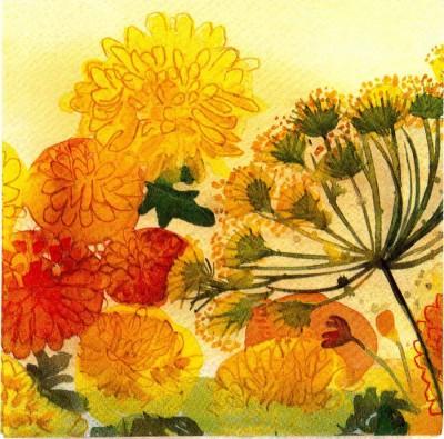 Decoupage Napkins | Flower Meadow with Fall Colors|Autumn Napkins | Paper Napkins for Decoupage