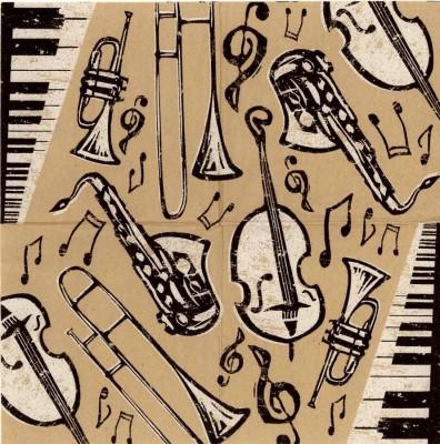Decoupage Napkins Bebop Jazz Instruments   Music Napkins Jazz Napkins Piano Napkins  Saxophone Bass Horn   Paper Napkins for Decoupage