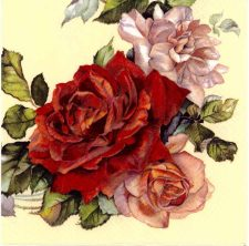 Decoupage Napkins | Rose Napkins | Garland of Red and Pink Roses | Paper Napkins for Decoupage