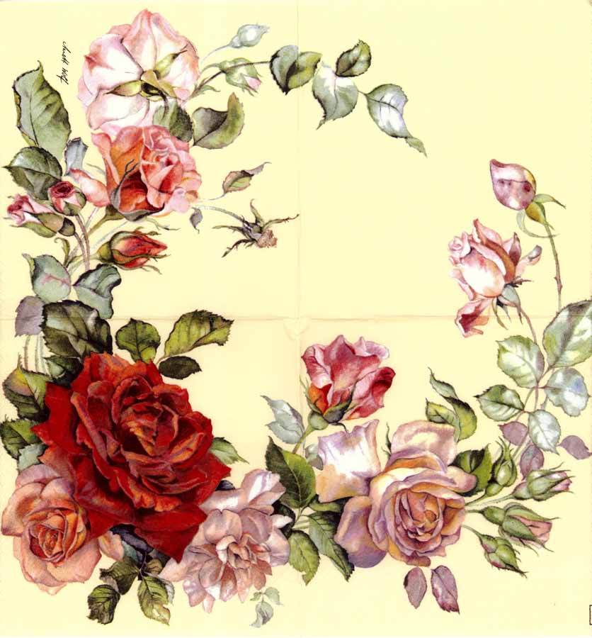 Decoupage Paper Napkins of Garland of Red and Pink Roses