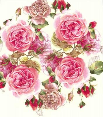 Decoupage Napkins   Round Paper Napkins  Pink Tea Roses   Paper Napkins for Decoupage