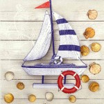 Decoupage Napkins |Toy Sailboat with Seashells | Beach Napkins | Summer Napkins |Paper Napkins for Decoupage