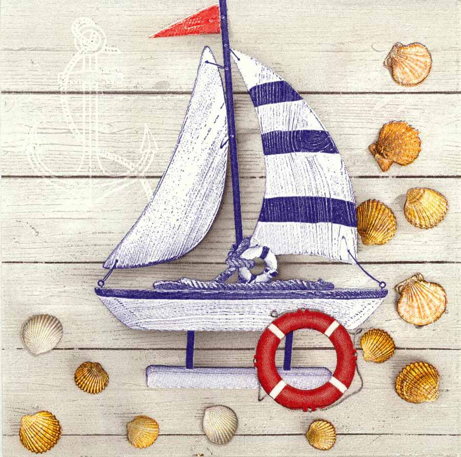 decoupage paper napkins of toy sailboat with seashells. Black Bedroom Furniture Sets. Home Design Ideas