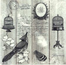 Decoupage Napkins |Vintage Bird with Birdcage and Postmark |Bird Napkins | Paper Napkins for Decoupage