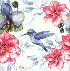 Decoupage Napkins |Hummingbird Napkins |Watercolor of Hummingbird Flower Garden | Paper Napkins for Decoupage