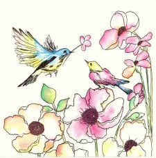 Decoupage Paper Napkins |Watercolor Love Birds in Flower Garden | Bird Napkins |Paper Napkins for Decoupage