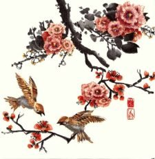Decoupage Napkins |Watercolor Napkins | Asian Birds in Tree with Flowers |Paper Napkins for Decoupage