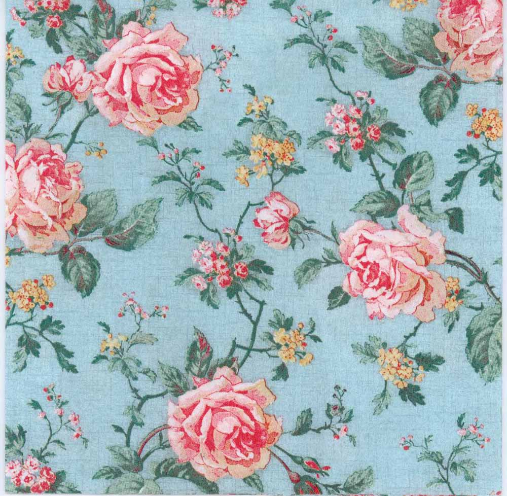 Decoupage Paper Of Pink Roses On Blue Napkinrambling Roses On