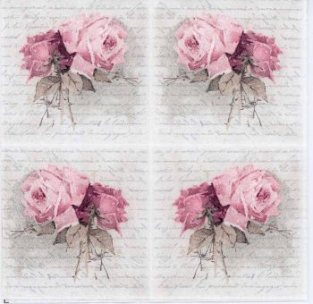 Decoupage Paper Napkin of Vintage Rose Duet and Love Poem | Paper Napkins for Decoupage