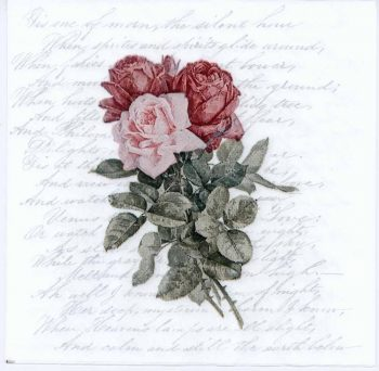 Decoupage Napkins of Trio of Roses and Love Poem | Paper Napkins for Decoupage