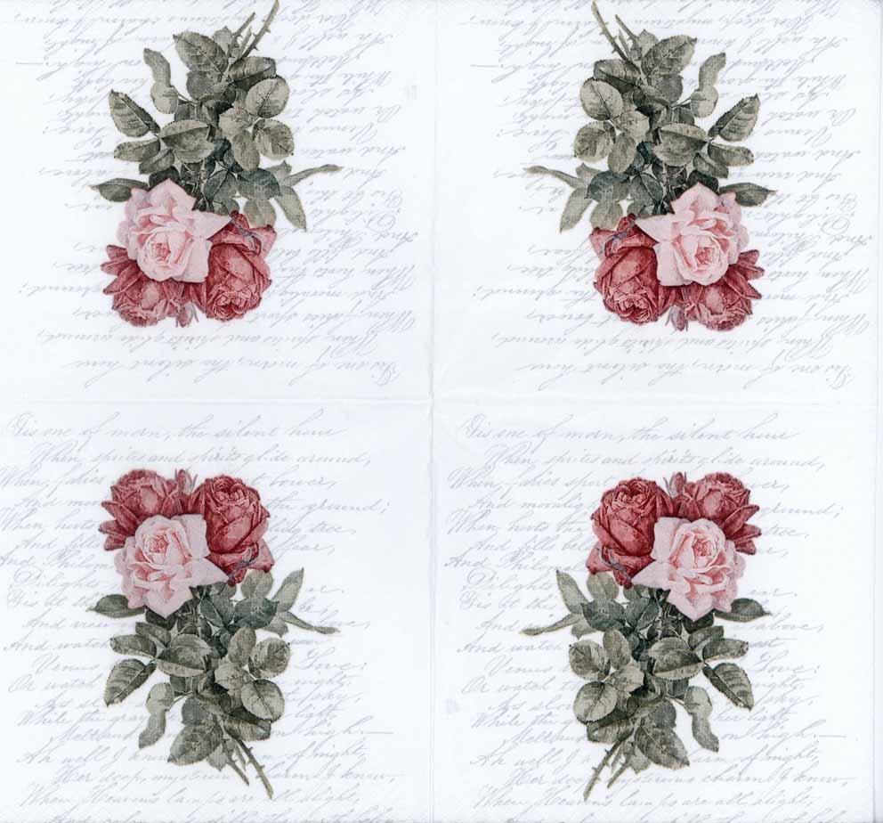 decoupage napkins of trio of roses and love poem