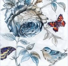 Decoupage Paper of Roses Butterflies and Songbird | Paper Napkins for Decoupage
