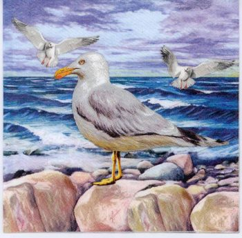 Decoupage Paper Napkins of Seagulls on Ocean Rocks | Paper Napkins for Decoupage