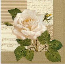 Decoupage Paper Napkin of White Rose and Music   Paper Napkins for Decoupage