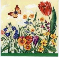 Decoupage Paper Napkins of Wild Flower Garden Tulips Butterflies on Cream   Paper Napkins for Decoupage