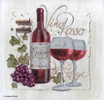 Decoupage Paper Napkins of Red Wine Grapes Bottle and Glasses | Paper Napkins for Decoupage