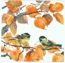 Autumn Colors and Birds | Autumn Napkins | Bird Napkins | Paper Napkins for Decoupage